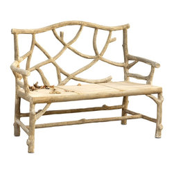 Currey & Company - Woodland Bench - The traditional technique of faux bois is applied in creating this unique bench. The bench is created the old fashioned way by hand-applying concrete over a metal frame. This rustic style is organic that moves with ease both outdoors or inside.