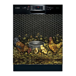 Appliance Art - Appliance Art 'Rooster and Family' Dishwasher Cover - Take your dishwasher from boring to beautiful with this quirky dishwasher cover. A digital print of a hand-painted original from Martin Idlet features a rooster family gathered around a feeding bin, evoking a country charm that will extend to the room.
