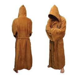 KOOLEKOO - Star Wars Jedi Fleece Bathrobe - Jedi of the bathroom. You may not be able to use the Force, but at least you can feel like a Jedi when you get out of the shower or wake up in the morning and don this incredibly comfortable Jedi Adult Fleece Bathrobe. A full-length (58-inches from shoulder to bottom) brown robe with a brown belt and pockets, this Star Wars-themed robe fits most male adults 5-feet 6-inches to 6-feet 2-inches tall and is made out of high-quality polyester fleece. It has the signature oversized Jedi hood, widened sleeves, and symbol of the Jedi Order sewn into the left breast. This stylish robe is so suave that even Luke Skywalker would be jealous!