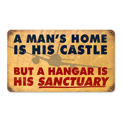 Past Time Signs - Mans Home Hangar Vintage Metal Sign - This vintage metal sign is hand made with pride in the USA using heavy gauge American steel. The high-resolution graphics are sublimated and powdercoated for a long-lasting durable finish. Then, it's worked over by hand to give it that vintage look and feel. It's perfect for your %customfield:genre% Man Cave, Game Room, Office, or anywhere you want to show love for your favorite things.