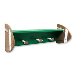 Trend Lab - Football Shelf with Pegs - 100339 - Shop for Wall Hooks Racks and Shelves from Hayneedle.com! If you're tired of your football star dropping cleats and jerseys on the floor invest in this unique football shelf. A vivid green shelf and backboard are bracketed by two large football supports and three pegs with football ends give your kid plenty of space to hang up all that sports equipment. The top shelf provides plenty of room to store a helmet and smaller equipment. Add a laundry bag for dirty clothes and you have a complete solution to your game- and practice-day mess.