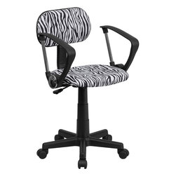 Flash Furniture - Flash Furniture Black & White Zebra Print Computer Chair w/ Arms - BT-Z-BK-A-GG - This attractive design printed office chair will liven up your classroom, dorm room, home office or child's bedroom. If you're ready to step out of the ordinary then this computer chair is for you! [BT-Z-BK-A-GG]