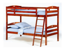 Night & Day Furniture - Sesame Solid Wood Twin over Twin Bunk Bed Set - This twin over twin bunk bed is designed for homeowners who want to save on space. Features a hardwood construction and comes with headboard, footboard, and safety rails combined with a side ladder. The cherry finish will add warmth to any room and works well for boys and girls alike. Twin Over Twin Bunk Bed includes Headboard, Footboard, Posts, Rails/Ladder, and Slat. 100% Malaysian Rubberwood construction. Engineered for economy. Built for the usual abuse. Sesame's solid hardwood frame is naturally strong and sturdy. Sesame Twin Twin Bunk Bed comes with a limited 5 year warranty. Cherry finish. Bunk Bed Warning. Please read before purchase.. NOTE: ivgStores DOES NOT offer assembly on loft beds or bunk beds.