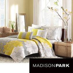 Madison Park - Madison Park Brianna 6-piece Coverlet Set - Bring a contemporary, coordinated look to your bedroom decor with this reversible coverlet set. In addition to its lovely, modern floral print and color scheme, this easy-care quilt set features a cotton fill to keep you comfortable and warm.