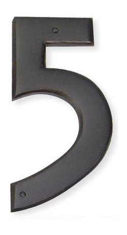Atlas - Mission House Number 5 - RCN5-O (Aged Bronze) - Color: Aged BronzeManufacturer SKU: RCN5-O. Includes necessary mounting hardware. Projection: 0.25 in.. Made from metal. 5.5 in. L x 2.5 in. W