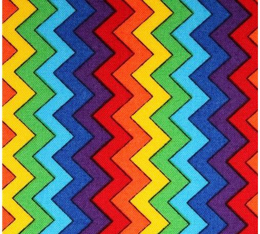 zig zag chevron fabric multicolor Timeless Treasures - Chevron fabric Multi Rainbow Chevron from the USA with zig-zag pattern