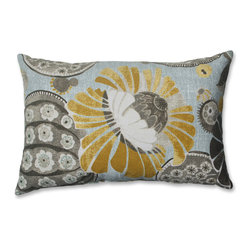 Pillow Perfect - Pillow Perfect Copacabana Rectangular Throw Pillow - This 100 percent cotton decorative throw pillow adds stylish flair to any room in your home. Featuring a beautiful pattern in blue,yellow,and gray,this pillow is the perfect addition to a plain side chair,and will also brighten up your bed.