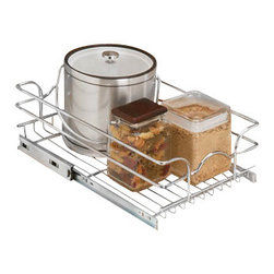 """Rev-A-Shelf - Rev-A-Shelf 5WB1-1218-CR 12"""" Single Pullout Wire Basket with 18"""" Slides - Chrome - Tired of your kitchen cabinets being disorganized? Well the Rev-A-Shelf 5WB1-1218-CR Pullout Chrome Wire Basket may be the answer to help reduce the clutter in your cabinets. This unit not only creates more functional kitchen storage, it also pulls out bringing exactly what you are looking for right to your fingertips. No more digging deep into your cabinets! The wire basket features 100lb rated full extension slides for maximum durability and ease of use, as well as a heavy duty chrome frame to hold a variety of items including pots and pans. Additionally, this item comes fully assembled, and is easy to install to the bottom of your cabinet - requiring only the four included screws. Size Specifications: 11-3/8"""" W x 18"""" D x 7"""" H. Please make sure you have a minimum cabinet opening of at least 11-1/2"""" W x 18-1/8"""" D x 7-1/8"""" H to ensure a proper fit."""