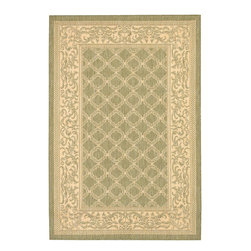 """Couristan - Couristan Recife Garden Lattice, Natural, Green, 7'6""""x10'9"""" Rug - Distinctively designed to complement the simple yet classic styling of outdoor furniture, uniquely colored to make stone entryways and patio decks warmer and more inviting, Couristan is proud to expand its popular indoor/outdoor area rug collection, Recife. Power-loomed of 100% fiber-enhanced Courtron polypropylene, this all-weather, pet-friendly, mold and mildew resistant area rug collection features a durable structured, flatwoven construction, which allows it to be suitable for indoor and outdoor use. The naturally inspired color palette offered in this versatile collection features a series of unique combinations of natural hues that have been selected to complement today's hottest outdoor home furnishings. Hosting a wide range of sizes including runners and special shapes in the form of rounds and squares, the Recife Collection has been designed to offer the perfect outdoor floor covering solution for the home."""