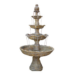"Serenity Health & Home Decor - 4-Tier Grand Courtyard Fountain, Dark Color - 43.5""Dx80""H Weight: 125 lbs. Lower basin bottom is 17.5"" in diameter and 20"" tall. Lower tier is 43.5"" diameter, next tier is 27.5"", next is 20"" and top tier 14"" diameter. Lower basin water depth is about 6"" deep, each higher tier is about 1"" less deep of water then the prior one."
