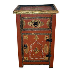 Badia Design Inc. - Moroccan Metal and Leather Cabinet, Brown - Colorful metal and leather cabinet made with stretch leather and silver metal buttons. This makes for a unique and colorful storage unit that can be used in any room in your home, apartment or office.