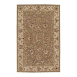 """Nourison - Nourison Heritage Hall HE09 3'9"""" x 5'9"""" Olive Area Rug 25269 - Like an olive grove in desert sands, shades of the oasis come to life in this lush, ethereal rug. The pale green tones shimmer with antiqued patina, making a lustrous background for the exquisitely detailed blossoms that dance across this appealing design."""