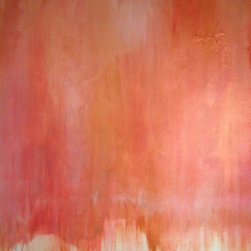 """""""Peach Roses, Painting"""" - """"Peach Roses is a abstract rendition of my favorite peach-tipped pink roses. This painting is undeniable """"""""girly"""""""" but balanced with a very modern feel.  It is on a deep-edged canvas (1.5"""""""") with finished edges. It is ready to hang."""""""