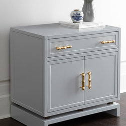 Larchment Chest - Find a new home for your mismatched nightstands and invest in a good pair of bedside tables. This Larchment chest has loads of storage space and will bring flair to any room.