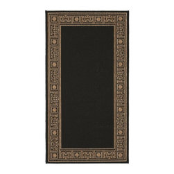 Safavieh - 2 ft. 7 in. Machine Made Rug - Transitional design. Synthetic fiber. Power loomed construction. Made from polypropylene. Black and coffee color. Made in Belgium. 5 ft. L x 2 ft. 7 in. W. Safavieh takes classic beauty outside of the home with the launch of their Collection. These rugs are suitable for anywhere inside or outside of the house. To achieve more intricate and elaborate details in the designs, Safavieh used a specially-developed sisal weave. Care Instructions: Vacuum regularly. Brushless attachment is recommended. Avoid direct and continuous exposure to sunlight. Do not pull loose ends; clip them with scissors to remove. Remove spills immediately; blot with clean cloth by pressing firmly around the spill to absorb as much as possible. For hard-to-remove stains professional rug cleaning is recommended.