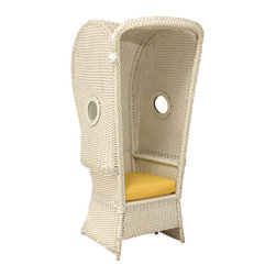 Heywood Wakefield Beach Chair - A hooded wicker chair with porthole windows makes a sensational addition to any patio!