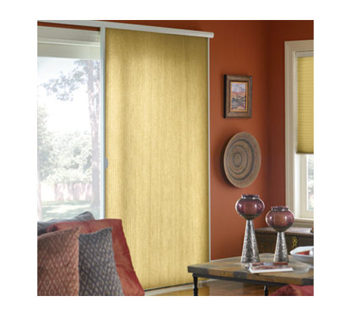 """M&B Vertical Honeycomb 3/4"""" Single Cell Blackout - In this unique product, the honeycomb pleats are oriented vertically and the shade opens from side-to-side, making it ideal for sliding glass doors and french doors. These shades provide a high level of natural insulation and sound absorption. In addition, every shade includes a neutral white backing to the outside of the home. A brand new hardware system has been introduced which increases the durability and gives years of smooth operation."""