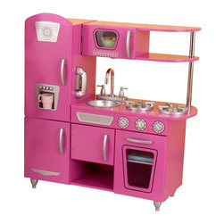 KidKraft - Bubblegum Vintage Kitchen, Removable Sink by Kidkraft - Bon App tit! Our Vintage Kitchen in Bubblegum lets kids pretend they are cooking big feasts for the whole family. With its close attention to detail and interactive features, this adorable kitchen would make a great gift for any of the young chefs in your life.