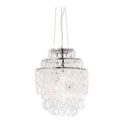 Zuo Modern - Cascade Ceiling Lamp - Cascade Ceiling Lamp     Like a comet glowing in the sky, the Cascade ceiling lamp shimmers and sparkles like a comets tail. Made from glass chains with a chrome body. Three 60W max bulbs included. UL approved.