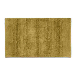 None - Westport Stripe Sand Dune Washable Bath Rug - Classic and comfortable, the Westport Stripe bath collection adds instant luxury to the bathroom, shower room or spa. Machine-washable, the sand gold plush nylon holds up to wear, while the non-skid latex makes sure the rug stays in place.