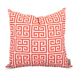 Majestic Home - Outdoor Orange Towers Large Pillow - Add a splash of color and a little texture to any environment with these great indoor/outdoor plush pillows by Majestic Home Goods. The Majestic Home Goods Large Pillow will add additional comfort to your living room sofa or your outdoor patio. Whether you are using them as decor throw pillows or simply for support, Majestic Home Goods Large Pillows are the perfect addition to your home. These throw pillows are woven from Outdoor Treated polyester with up to 1000 hours of U.V. protection, and filled with Super Loft recycled Polyester Fiber Fill for a comfortable but durable look. Spot clean only.