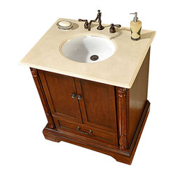 """Silkroad Exclusive - 32 Inch Traditional Single Sink Bathroom Vanity - This 32 inch traditional single sink bathroom vanity is a perfect center piece for your bathroom project.  This Walnut bathroom vanity features 2 Doors, 1 Drawer , and a Cream Marfil Marble counter top with a 16"""" Under Mount White Ceramic Sink that is Pre-Drilled for Standard Three Hole 8"""" Center (Not Included). Large opening in back for easy plumbing installation.  Dimensions: 32""""W X 22""""D X 36""""H (Tolerance: +/- 1/2""""); Counter Top: Cream Marfil Marble; Finish: Walnut; Features: 2 Doors, 1 Drawer; Hardware: Antique Brass; Sink(s): 16"""" Under Mount White Ceramic Sink; Faucet: Pre-Drilled for Standard Three Hole 8"""" Center (Not Included); Assembly: Fully Assembled; Large cut out in back for plumbing; Included: Cabinet, Sink; Not Included: Faucet, Backsplash"""