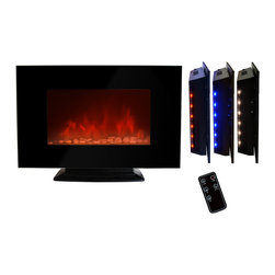 GOLDEN VANTAGE - GV 36-inch Electric Fireplace Wall Mount Or Floorstand W/Pebble And Led Light - Our electric powered fireplaces give off a simulated flame ambience without the danger