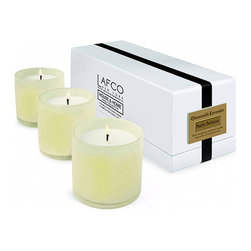 Chamomile Lavender / Bedroom Candle - Set of 3 - Rest well with the soothing caress of the Chamomile Lavender Bedroom Candle's calming, contemplative aroma.  The sweet yet complex herbal scent of these two prized flowers sets a racing mind at ease and turns a beautifully-decorated home into a sensory haven for all.  This popular scent comes in an oversized candle held by a frosty art glass vessel which will continue to serve as beautiful decor.