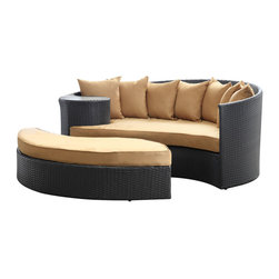 Modway Furniture - Modway Taiji Daybed in Espresso Mocha - Daybed in Espresso Mocha belongs to Taiji Collection by Modway Harmonize inverse elements with this radically pleasing daybed set. Seven plush throw pillows adorn Taiji's thick all weather orange cushions allowing for the splendorous blending of mediating elements. Find the key to attainment as you bask in a charged and unified landscape of expansiveness. Set Includes: One - Taiji Outdoor Wicker Patio Daybed One - Taiji Outdoor Wicker Patio Ottoman Seven - Taiji Outdoor Wicker Patio Throw Pillows Daybed (1), Ottoman (1)