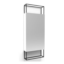 Fferrone Design - Frame Mirror - 18 inch - Fferrone Design - Whether in a bedroom, bath or entryway, the Frame Mirror in its minimal form is ideally suited. The frame is made of powder coated steel and a wooden tray can be situated anywhere along the bottom edge. The Frame Mirror is available in 3 sizes, 36, 48 and 18 inch. The wooden tray is not included with the 18 inch mirror.