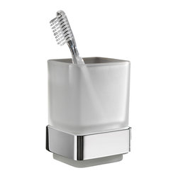 Gedy - Wall Mounted Frosted Glass Toothbrush Holder With Chrome Mounting - Wall mounted satin or frosted glass tooth brush holder or tumbler.