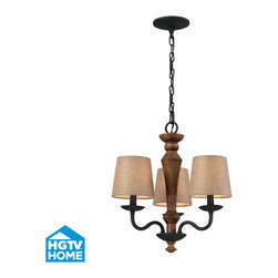 Elk Lighting - Early American 3-Light Chandelier in Vintage Rust - The combination of wood and iron is a historic pairing of materials inspired by the early days of colonial america. Solid wood is either turned or milled to provide an understated hand-made character. The colonial maple finish compliments the vintage rust metalwork while the wheat linen shades cast a warm glow of light.