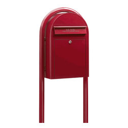 Red Modern Lockable Mailbox and Post Package -