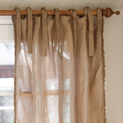 "Taylor Linens - Ruffle Tobacco Linen Curtain Panel, 42""x 96"" - Sheer linen edged with a 1/2-inch ruffle makes a sweet and simple curtain panel for your vintage country decor, adding just a touch of light-filtering softness. The old-fashioned cloth ties at the top let your curtain rod show, adding to the casual cottage look."