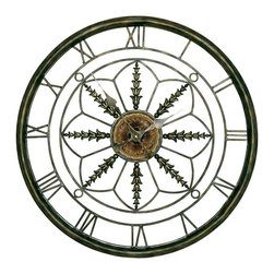 Passport - Roman Numerals Metal Wall Clock in Bronze Finish - Battery not included. Aged gold center medallion and outward leaves. Runs on one AA battery. Six months warranty. No assembly required. 25 in. Dia x 25 in. H (10 lbs.)