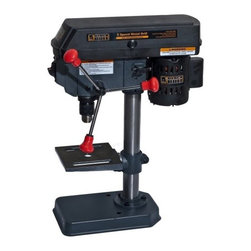 New Buffalo Corp. - Black Bull 5 Speed Drill Press - The Black Bull 5 Speed Drill Press, with laser centering device, allows you to drill true and exact holes more conveniently than with a handheld drill. This bench-top, cast iron Drill Press has the power to drill through metal, wood and other materials. The stationary bit with a 1/2 inch chuck capacity, provides accuracy and control. The 6.25 inch, rack and pinion worktable raises and lowers easily, and rotates 45 degrees to the right or left, allowing you to drill perfect right angles and consistent repetitive holes. The Black Bull 5 Speed Drill Press is ideal for use in the home shop on woodworking, metalworking, or do-it-yourself projects.