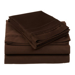 """650 Thread Count California King Sheet Set Egyptian Cotton Solid - Chocolate - Nothing refreshes a mind and body more than a good night sleep. Experience true 100% Egyptian Cotton luxury when you sleep on these 650 Thread Count sheets. An affordable luxury that drapes beautifully on the bed. These 650 thread count sheets of premium long-staple cotton are """"sateen"""" because they are woven to display a lustrous sheen that resembles satin. Our 650 Thread Count sheets are available in 12 Colors in Twin, Full, Queen, King and California King."""