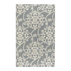 Surya - Cosmopolitan COS8828 Rug in Gray and White Swirl Design (2' x 3') - Choose Size: 2 ft. x 3 ft.. Hand tufted. Made from 100% Poly Acrylic