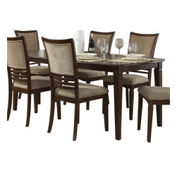 "Liberty Furniture - Liberty Furniture Davenport 78x40 Rectangular Dining Table in Medium Wood - Davenport changes the term ""casual dining"" to ""stylish dining"". Chairs tend to be the focus in dining and the Davenport chair is a nice combination of upholstery in a champagne chenille and wood horizontal slat accents. Tables feature fancy face 4 way match cherry veneers with softly rounded edges and tapered legs. What's included: Dining Table (1)."