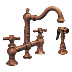 Whitehaus Collection - Antique Copper Whitehaus WHKBTCR3-9206 Deck Mount Cross Prep Bridge Faucet with - Classic elegance and historical charm brings attractive appeal to your kitchen. Curved spout style of deck mount cross prep bridge faucet with side spray by Whitehaus allows water to flow smoothly from the curved spout. Two cross lever handles make precisely, easy control of water pressure and temperature. Matching side spray offers flexibility for cleaning tasks.