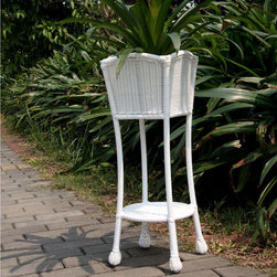 "Jeco - White Wicker Patio Planter Stand - ""With durable, all-weather resin wicker over a powder-coated steel frame, this planter stand is built to withstand anything life throws your way. Unlike real wicker which dries out and cracks, resin wicker is flexible and fade-resistant, which means it stays like new season after season. What's more, all-weather wicker doesn't absorb water and also allows for air flow, making it the perfect choice for the poolside! In addition, this planter is virtually maintenance-free and cleaning it is as simple as spraying it down with your garden hose or wiping it with a solution of mild dish soap and water."