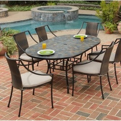 Home Styles Stone Harbor 65 in. Laguna Patio Dining Set - Seats 6 - The Home Styles Stone Harbor 65 in. Laguna Patio Dining Set - Seats 6 provides a cozy, stylish spot for relaxing and dining outdoors. This set includes a table and six arm chairs complete with cushions for greater comfort. The table features a rust-resistant, powder-coated steel base with a sleek black finish. The top is constructed of hand-applied, natural square slate tiles. The table top features a center opening that can be used for an umbrella or can be closed with the included black cap for a continuous surface. The weather-resistant chairs feature a two-tone, walnut brown synthetic-weave seat and back over a powder-coated, black steel frame. The taupe cushions feature ties to hold them in place.About Home StylesHome Styles is a manufacturer and distributor of RTA (ready to assemble) furniture perfectly suited to today's lifestyles. Blending attractive design with modern functionality, their furniture collections span many styles from timeless traditional to cutting-edge contemporary. The great difference between Home Styles and many other RTA furniture manufacturers is that Home Styles pieces feature hardwood construction and quality hardware that stand up to years of use. When shopping for convenient, durable items for the home, look to Home Styles. You'll appreciate the value.