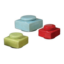 """Billy Moon - Billy Moon Lorado Ceramic Container X-73891 - Square, ceramic containers finished in vibrant, crackled pale blue, lemon-lime and red. Removable lids. Sizes: Small - 5"""" x 4"""" x 5"""", Medium - 6"""" x 5"""" x 6"""", Large - 7"""" x 6"""" x 7""""."""