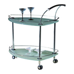 Chintaly - Contemporary Triangular Rolling Tea Cart w Fr - Our asymmetrically shaped triangle cart is all modern glass and chrome finishes. It's the perfect host piece for serving your favorite beverages and appetizers. Raised railing flows with the shape and the curved handle offers a stylistic arc at the wider end. Curved pull handle. Silver casters. Made from Glass and Metal. Assembly required. Table: 31 in. W x 20 in. L x 32 in. H. Weight capacity: 10-15 lbs.