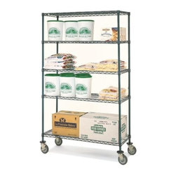 Olympic - Olympic 14 in. Deep 4-Shelf Mobile Cart - Gre - Choose Size: 30 in. W x 79 in. H14 inch depth. 600 lb. capacity per unit. Commercial Grade / Industrial Use. Olympic wire shelving made of carbon-steel will exceed all your storage needs. Open construction allows use of maximum storage space of cube. Each unit includes 4 posts, 4 shelves, 4 rubber swivel stem casters - 2 with brakes, 2 without - 4 donut bumpers and split-sleeves to attach shelves to posts. Green epoxy finish with chromat substrate is rust resistant and is suitable in cold and/or wet environments. Open wire design that minimizes dust accumulation and allows a free circulation of air. Greater visibility of stored items and greater light penetration. Can be loaded/unloaded from all sides. Wire shelving that can change as quickly as your needs change. Shelf wires run front to back allowing for items to slide on and off shelves smoothly. Shelves can be adjusted at 1 inch intervals along entire length of post. NSF Approved. Assembly Required