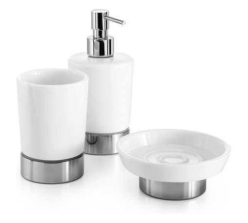 WS Bath Collections - Saon 4071 Accessory Set - Saon by WS Bath Collections Set of Tumbler, Soap Dish, and Soap Dispenser in Porcelain/ Polished Chrome