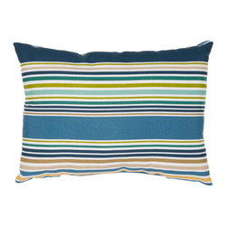 "Jaipur Rugs - Blue/Green color polyester od deck chair stripe poly fill pillow 13""x18"" - These fashion forward pillows, in trellis, stripes and whimsical patterns are for both indoor and outdoor use."
