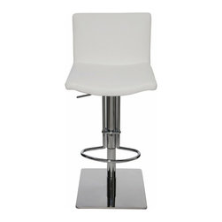Nuevo Living - Gia Adjustable Bar Stool, White - Gia Adjustable Bar Stool features convenient swiveling functionality for optimum flexibility and height adjustable aspect that also extends its utility beyond just a bar stool, but also an extra counter stool, if lowered all the way down. The seat is made of Italian leather upholstery and CSF foam for lasting comfort. The heavy-gauge steel frame and square base of Gia barstool is built for years of dependable use and enjoyment. The clean and well-defined lines make Gia stool very versatile and offers height adjustability so you can use it just about anywhere.