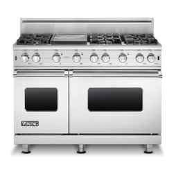"""Viking 48"""" Pro-style Gas Range, Stainless Steel Natural Gas   VGCC5486GSS - 3.7/2.0 CU FT CAPACITY DUAL OVENS"""