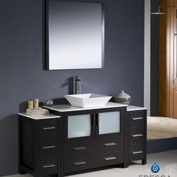 "Fresca - Fresca Torino 60"" Modern Bathroom Vanity w/ Two Side Cabinets & Vessel Sink - Es - Fresca is pleased to usher in a new age of customization with the introduction of its Torino line. The frosted glass panels of the doors balance out the sleek and modern lines of Torino, allowing it to fit perfectly in both 'Town' and 'Country' décor.The Fresco Torino bathroom vanity is 60"" wide and 33.75"" high, and boasts 18.13"" deep under-sink storage space – perfect for towels and other bathroom necessities. This bathroom vanity is completed with a 31.5"" wide x 31.5"" high x 1.25"" deep wall mounted mirror for optimal function and style.Items included: Main Vanity Cabinet(s), Countertop(s), Vessel/Integrated Sink(s), Mirror(s), Faucet(s), P-Trap and Pop-Up Drain(s), Standard hardware needed for installation.DecorPlanet is proud to offer Fresca Bathroom products. Fresca is a leading manufacturer of high-quality vanities, accessories, toilets, faucets, and everything else to give you the freshest bathroom in the neighborhood. Fresca is known for carrying the latest and most popular styles in modern and contemporary bathroom design that are made with high quality materials and superior workmanship."